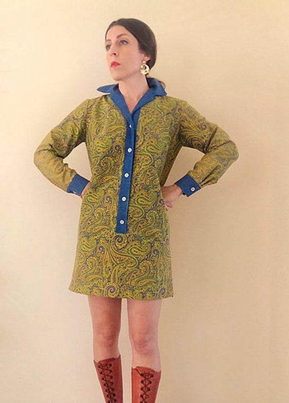 60s Vintage Paisley Print Shirt Shift Dress
