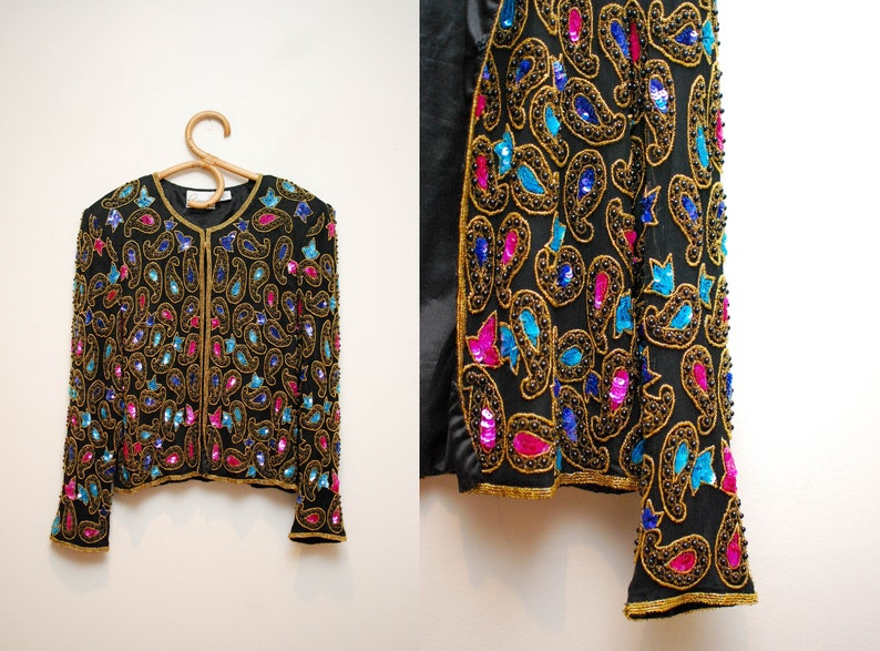 Vintage 80s Silk Beaded Sequin Evening Jacket / 1980s Black image 0