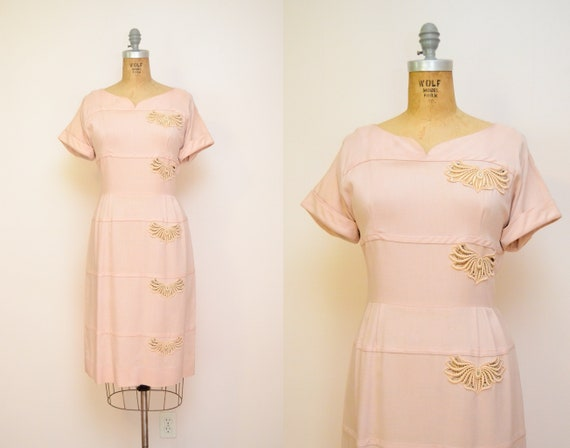 50s Vintage Blush Pink Linen Cocktail Dress / 1950