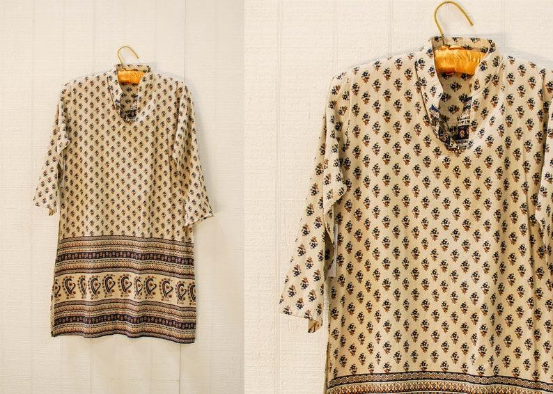 Indian Cotton Printed Tunic Top / Boho Ethnic Print Indian image 0
