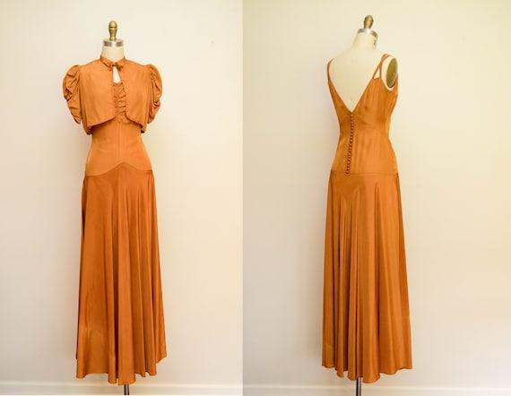 30s Vintage Gown / 1930s Silk Taffeta Bias Cut Dre