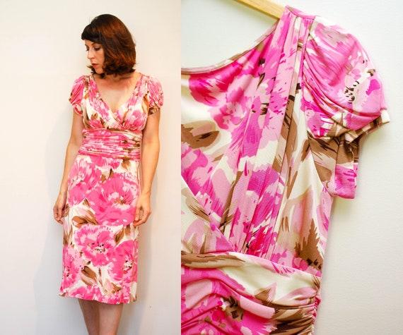 Vintage Pink Floral Cocktail Dress / 40s Style Sil