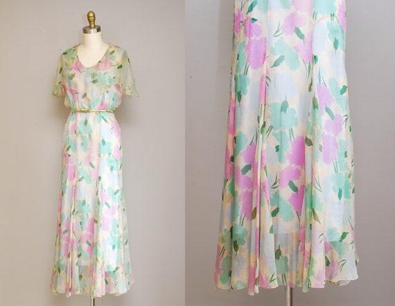 30s Vintage Floral Chiffon Dress / 1930s Pastel Wa