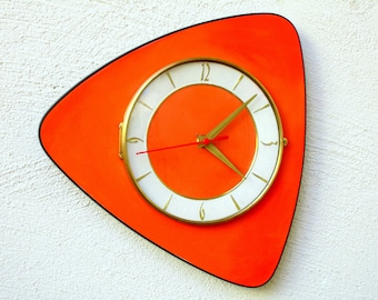 LARGE Bright ORANGE Formica Wall Clock - 1960s Orange Formica Clock -French Atomic Clock - Midcentury Orange Clock - Great Working Condition