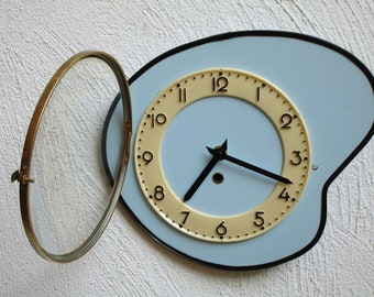 1950s Atomic Age French Clock - Baby Blue Vintage Clock - Formica Wall Clock - Great Working Condition - Mid Century Diamond