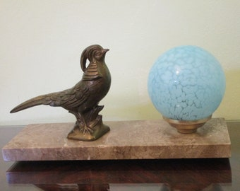 Original French Art Deco Bird on Branch on Marble Base - 1940s - Beautiful Blue Ball - Larger Size -  Great Art Deco Details