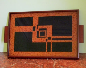 Art Deco - Bauhaus - French Art Deco Marquetry Wood and Glass Tray -Strong Geometric Shapes - Inlaid Wood - 1930s-40s -Serve them in Style!