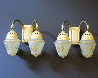 Pair Mid Century Double Shade Light Sconces - French Pair Wall Lights- Pair Beige Enamel Light Sconces - Mid Century Perfection