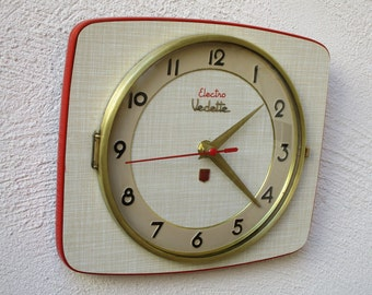 French Atomic Clock - VEDETTE Beige Formica Wall Clock Bright Red Rim- Funky Square Shape - Midcentury Wall Clock - Great Working Condition