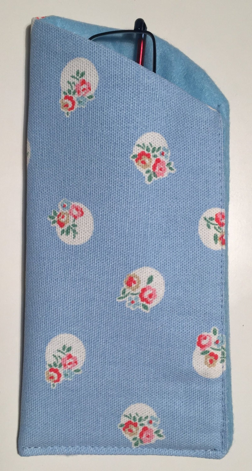 glasses case made with cath kidston dots and flowers blue. Black Bedroom Furniture Sets. Home Design Ideas