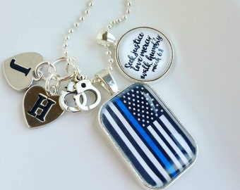 silver blue lives matter police SMALL necklace wife mom of a police officer thin blue line jewlery for her gift