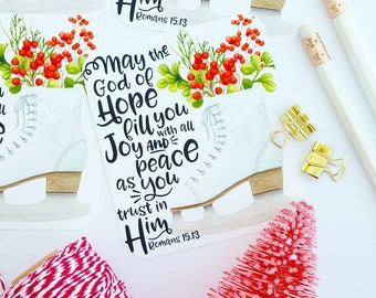 Christmas skate May the God of hope Romans 15.13 inspired scripture cards set of 6 bible journaling cards gift tags holiday gift wrap