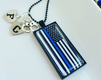 blue lives matter police LARGE necklace wife mom of a police officer thin blue line jewlery for her gift