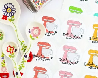 Baked with love baking stickers bakers seals baking packaging mixer stickers baking labels aqua mixer