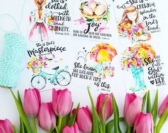 LIGHT HAIR She is God's masterpiece / proverbs 31 / mother's day inspired set of 6 scripture / bible journaling cards