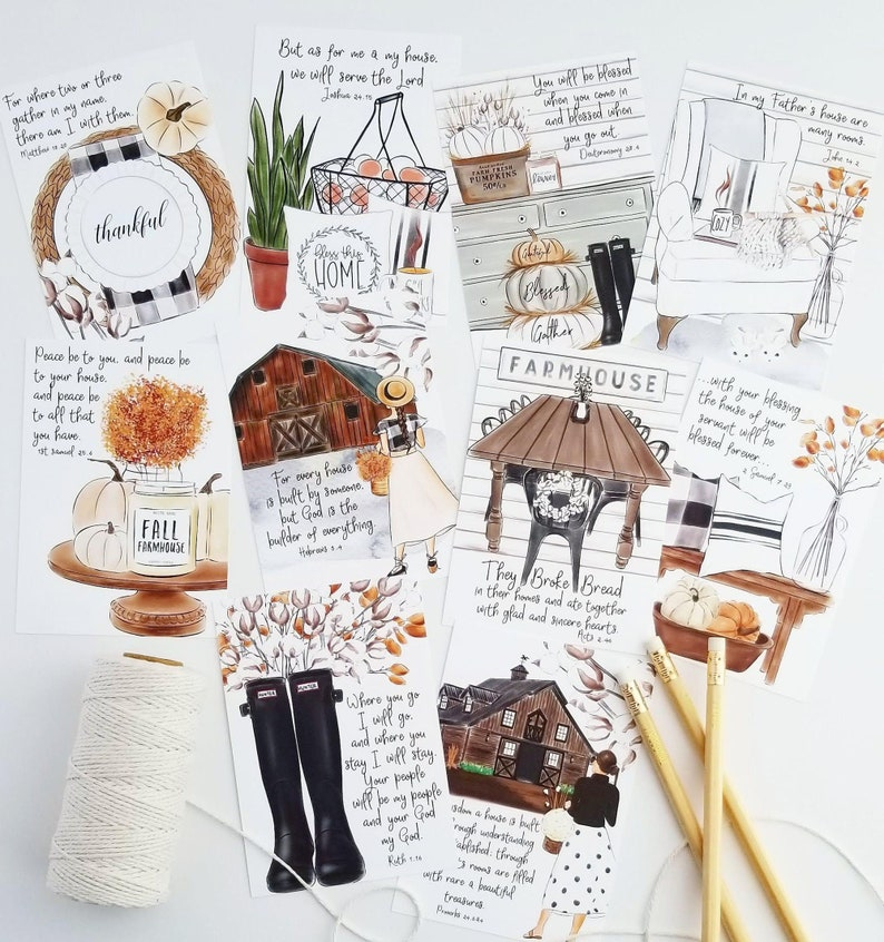 cozy fall farmhouse 2 inch circle stickers SET OF 20