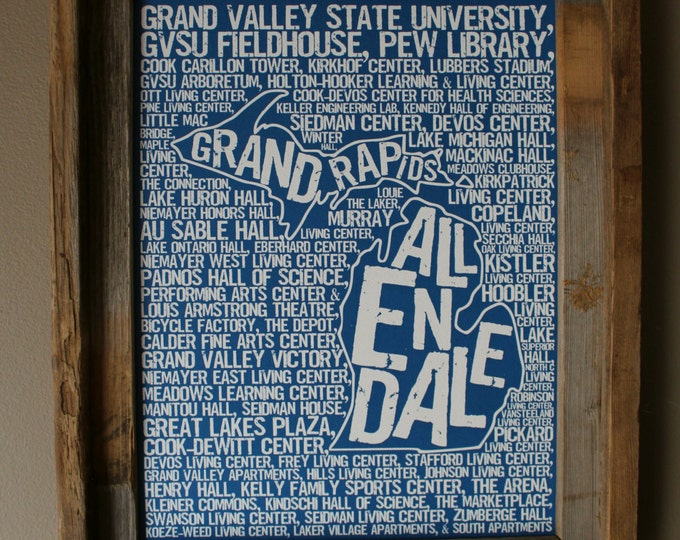 Allendale - Grand Rapids Michigan - Grand Valley State University - Whimsical College Word Map (Blue & White) - Unframed