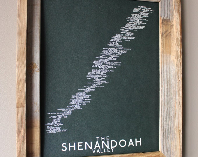 The Shenandoah Valley Word Map (Dark Dark Green) - Unframed