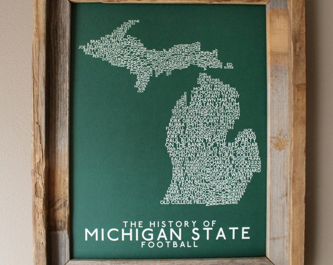 The History of Michigan State Football - Michigan State University - Word Map (Green & White) - Unframed