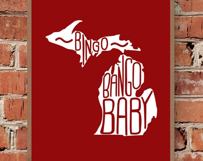 Bingo Bango Baby - Michigan - Detroit Red Wings - Mickey Redmond - Fine Art Print - Unframed (Multiple Sizes)
