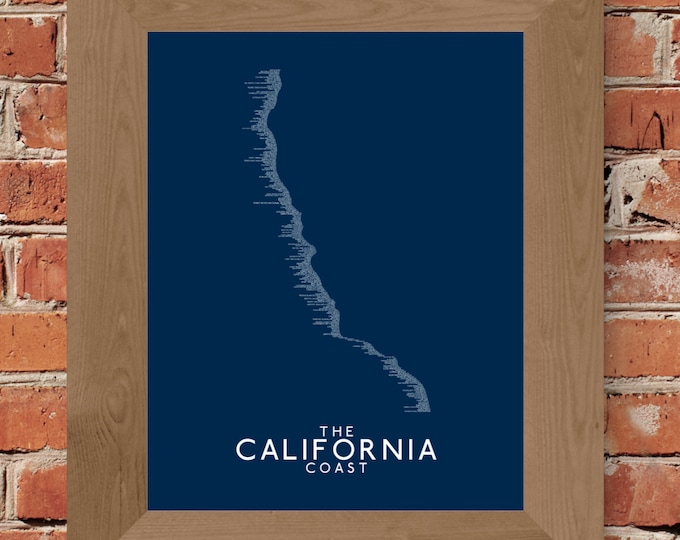 The California Coast Word Map (Dark Blue) - Unframed (11x14, 16x20, 24x36, and more sizes available)