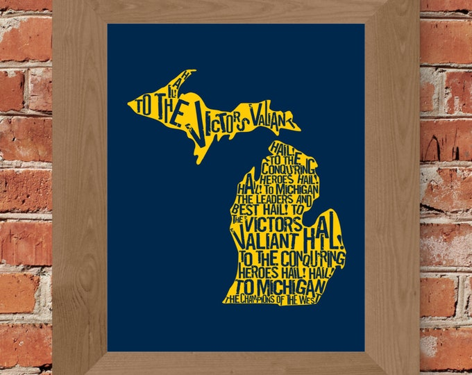 Hail to the Victors - Michigan Fight Song - Word Art Fine Art Print (Maize & Blue) - Unframed