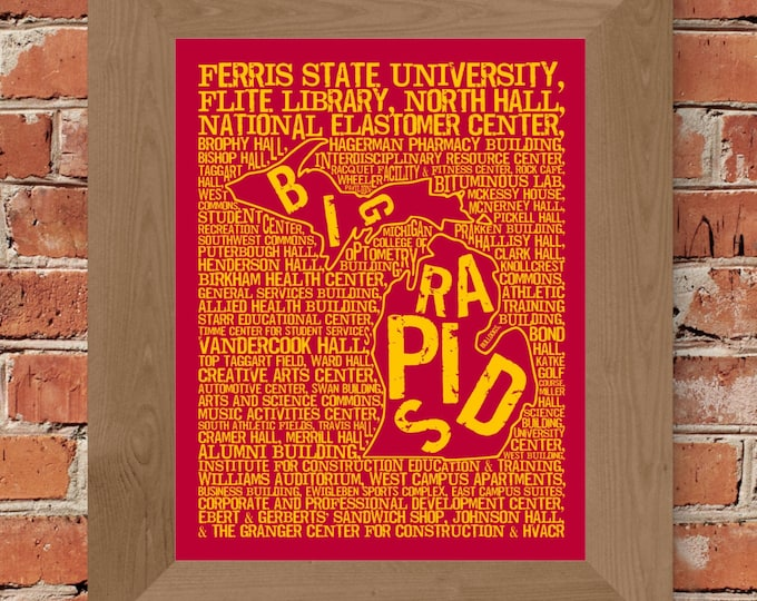 Big Rapids Michigan - Ferris State University - Whimsical College Word Map (Crimson & Gold) - Unframed