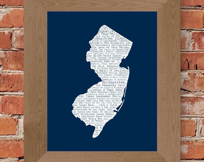 New Jersey In A Nutshell Word Art Map Fine Art Print (Dark Blue) - Unframed (8 x 10, 11 x 14, 16 x 20, 18 x 24, 24 x 36, and more)
