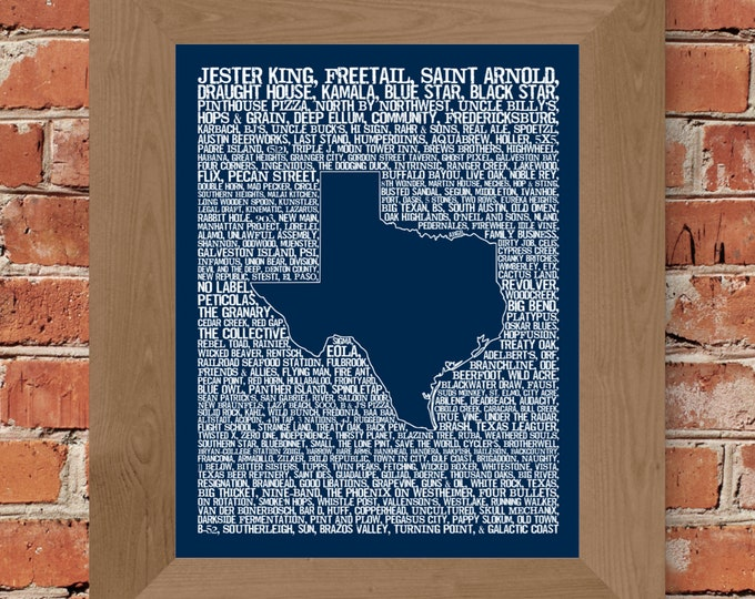Beers of Texas Word Map (Dark Blue) Fine Art Print - Unframed