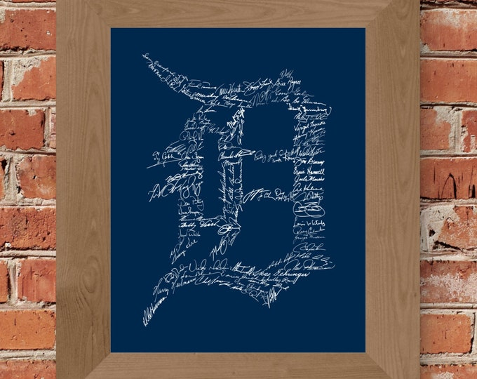 Signatures of Detroit Tigers History (Dark Blue) Fine Art Print - Unframed  (5x7, 8x10, 11x14, 24x36, and more sizes available)