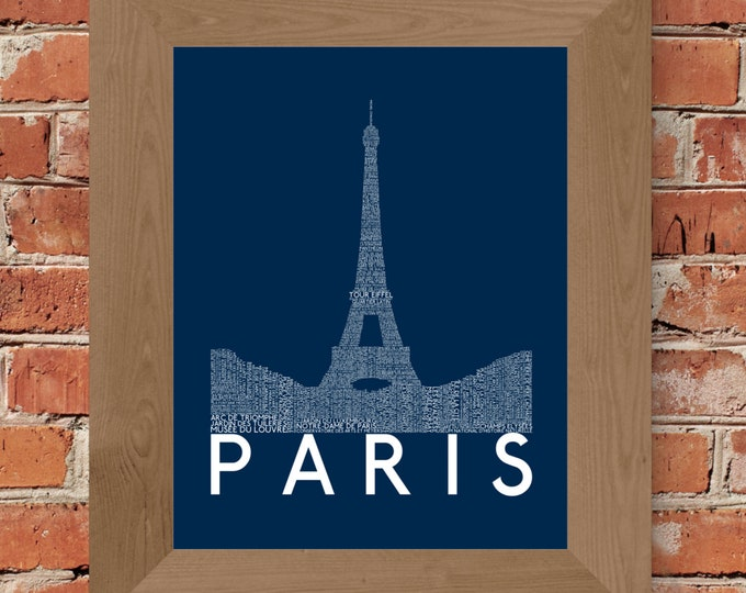 Paris Eiffel Tower Word Art Print (Dark Blue) - Unframed