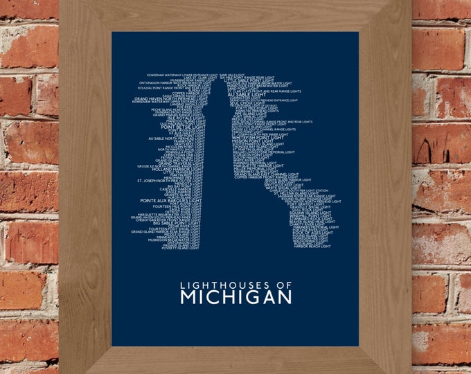 Michigan Lighthouses Word Art Print (Dark Blue) - Unframed (8x10, 11x14, 16x20, 18x24, 24x36 and more!)