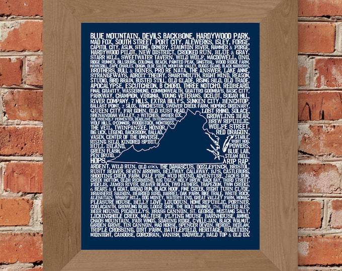 Beers of Virginia Word Map (Dark Blue) Fine Art Print - Unframed (11 x 14, 22 x 28)