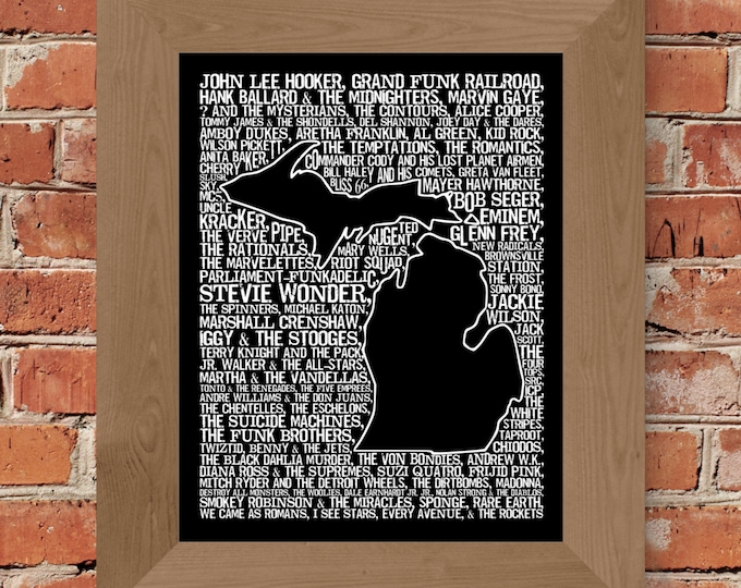Michigan Rock and Roll Word Map Fine Art Print (Black) - Unframed (11x14, 22x28)