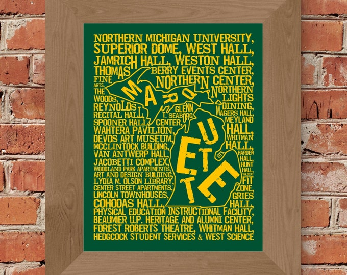 Marquette Michigan - Northern Michigan University - Whimsical College Word Map (Green & Gold) - Unframed