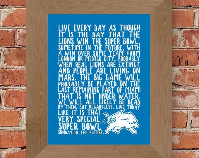 Detroit Lions Super Bowl Fine Art Print (Blue) - Unframed (5 x 7, 8 x 10, 11 x 14, 16 x 20, 18 x 24, 24 x 36 and more)