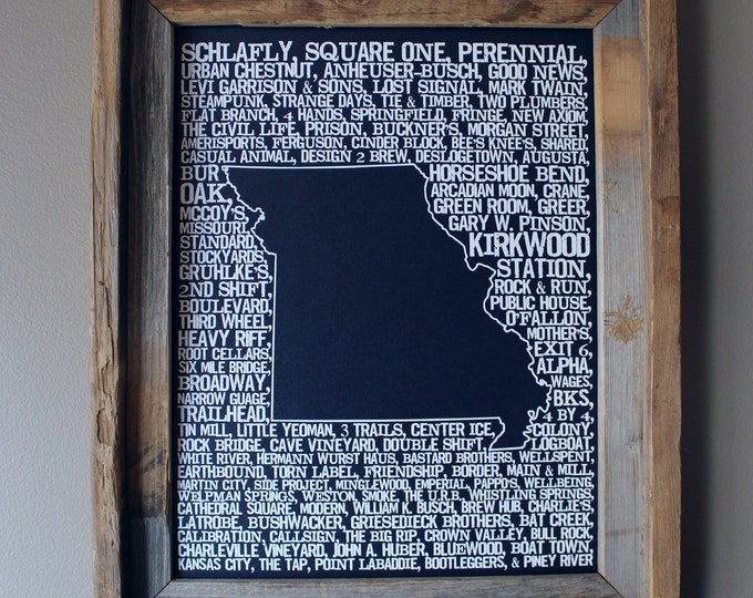Beers of Missouri Word Map (Dark Blue) - Unframed