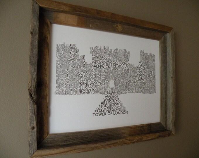 English Castles Word Art Print (White & Dark Gray) - Unframed