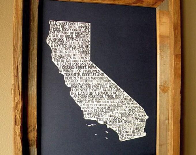 California In A Nutshell Word Art Map Print (Dark Blue) - Unframed