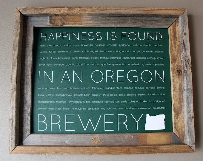 Happiness Is Found In An Oregon Brewery Word Art Print (Green) - Unframed