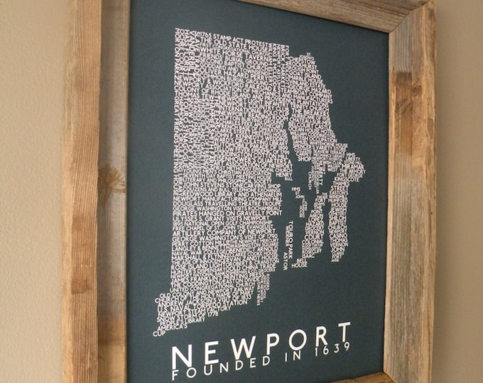 History of Newport (Rhode Island) Word Map (Teal) - Unframed