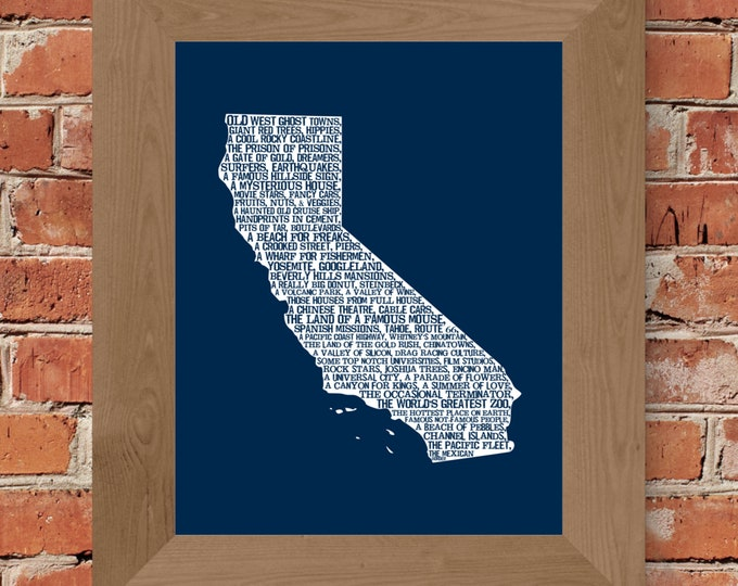 California In A Nutshell Word Art Map Print (Blue) - Unframed