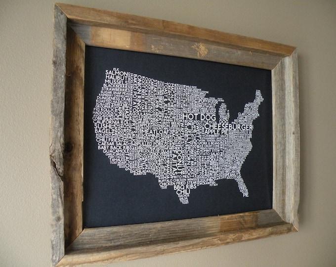 American Foods Map (Dark Blue) - Unframed