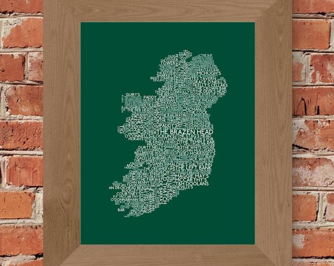 Irish Pubs Word Map Fine Art Print (Green) - Unframed (8 x 10, 11 x 14, 16 x 20, 16 x 24, 18 x 24, 24 x 36, and more!)
