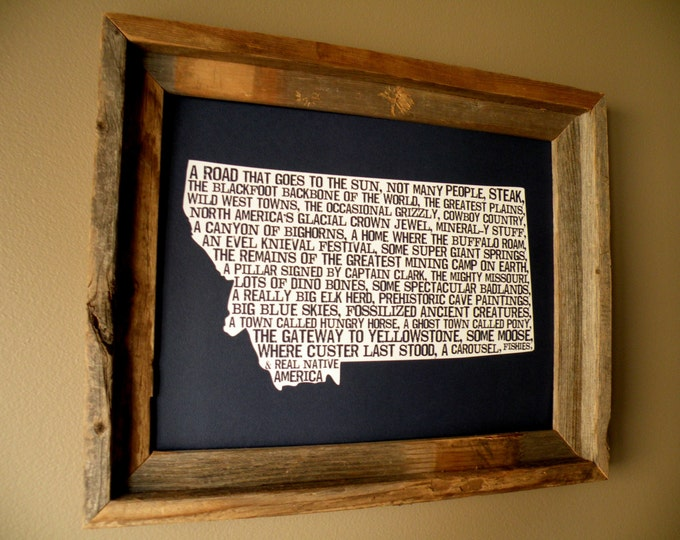 Montana In A Nutshell Word Art Map Print (Dark Blue) - Unframed