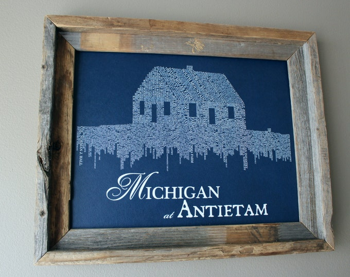 Michigan at Antietam - Monument Fundraiser - Print (Blue & White) - Unframed