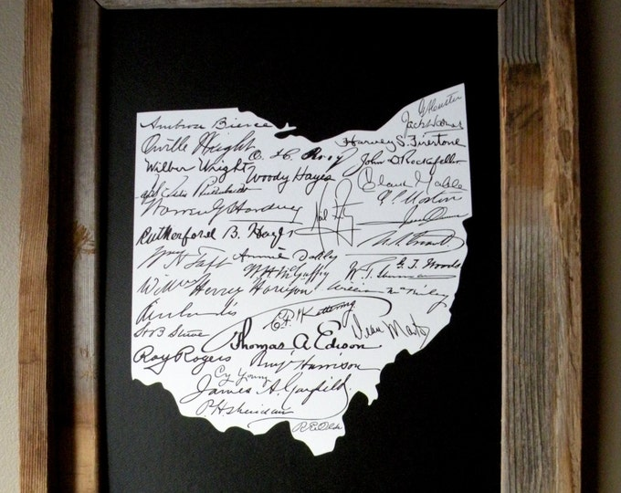 Signatures of Ohio History Map Print (Black) - Unframed