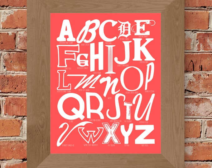 The Alphabet of Detroit Word Art (Pink) - Unframed
