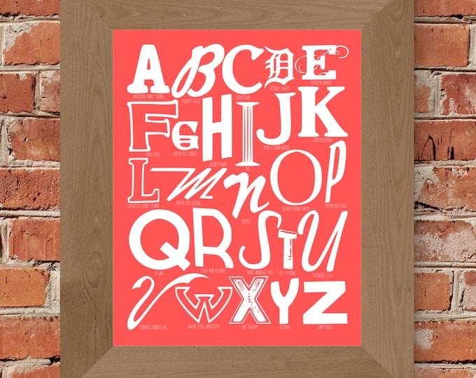 The Alphabet of Detroit Word Art (Pink) - Unframed
