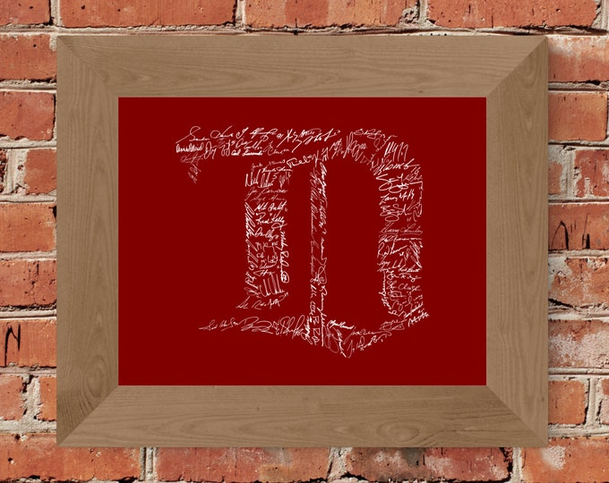 Signatures of Detroit Red Wings History (Red) - Unframed (5x7, 8x10, 11x14, 24x36, and more sizes available)